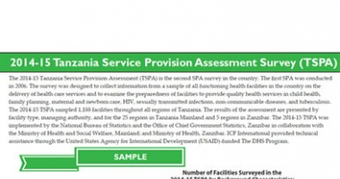 Tanzania SPA 2014-15 Summary Findings